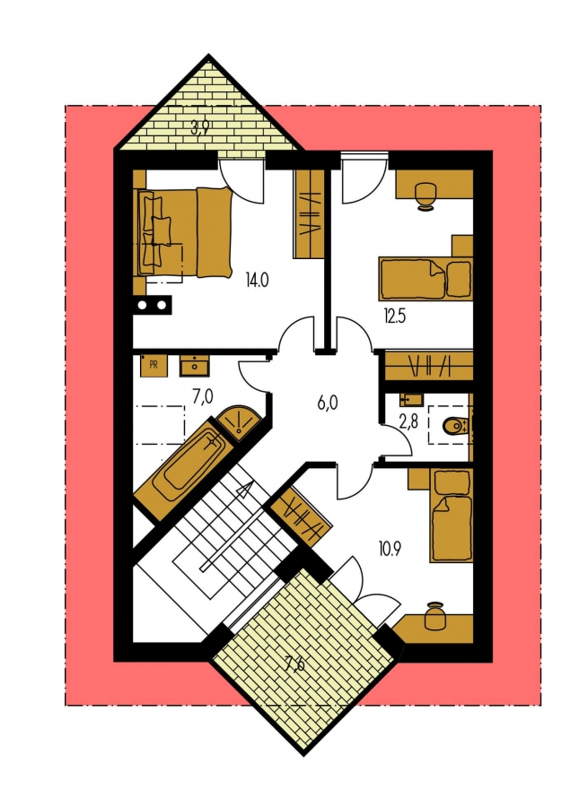 Pôdorys Poschodia - Klasický dom so suterénom a s podkrovím.