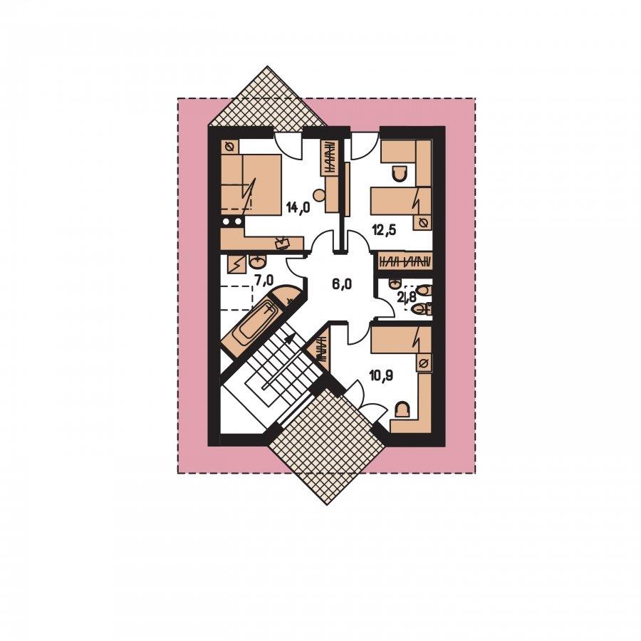 Pôdorys Poschodia - Klasický dom s podkrovím
