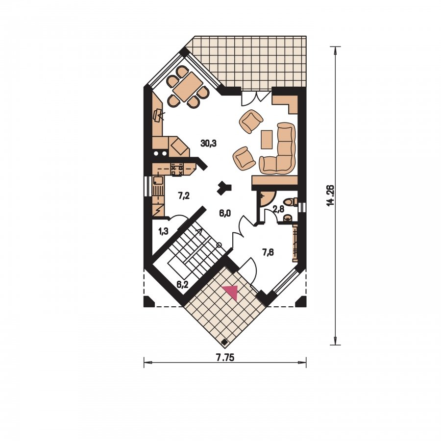 Pôdorys Prízemia - Klasický dom s podkrovím