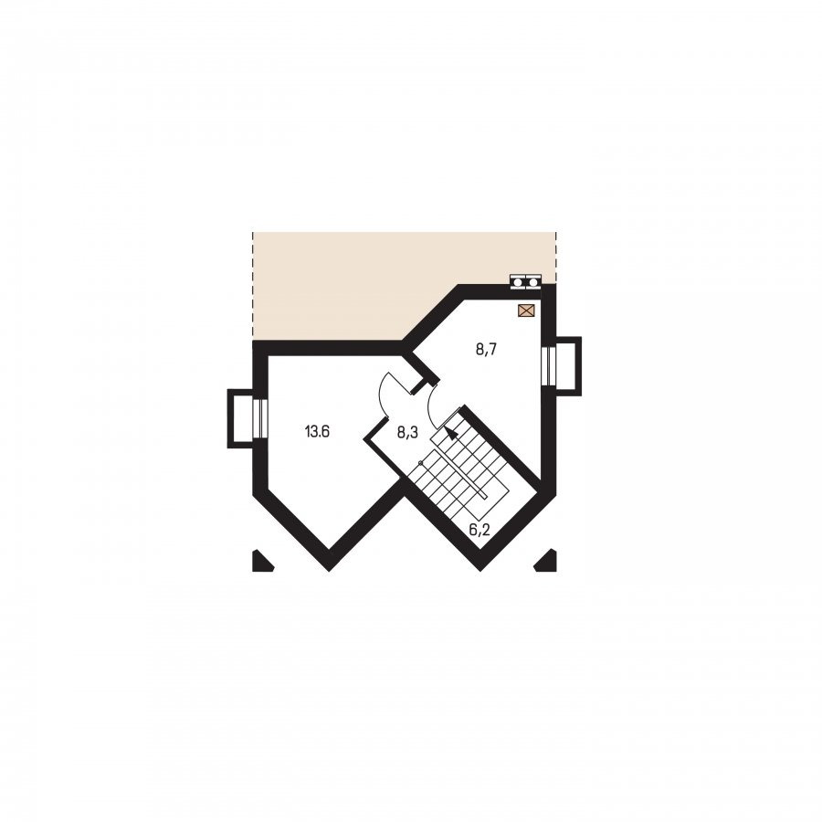 Pôdorys Suterénu - Klasický dom s podkrovím
