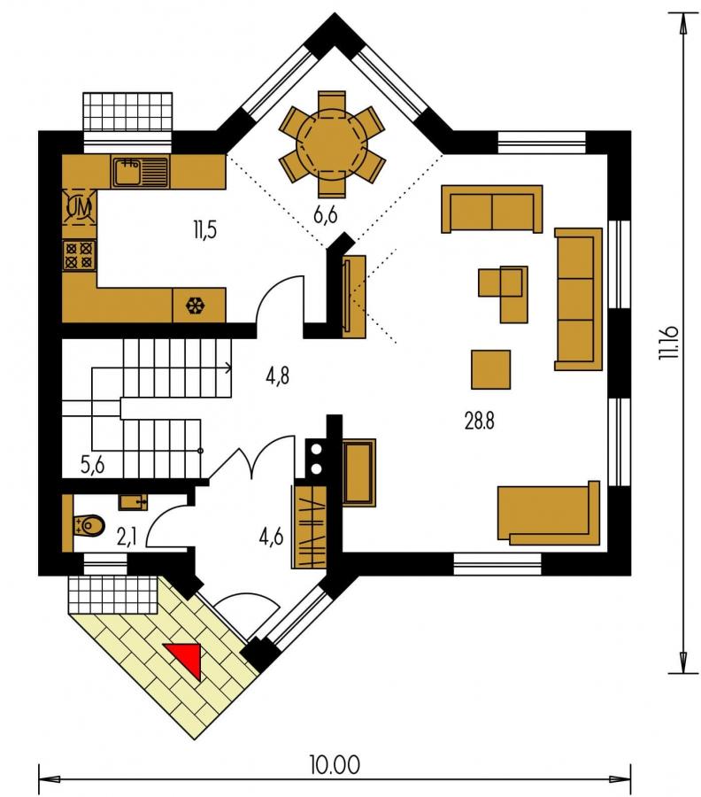 Pôdorys Prízemia - Atypický dom so suterénom a priestrannou obývačkou.