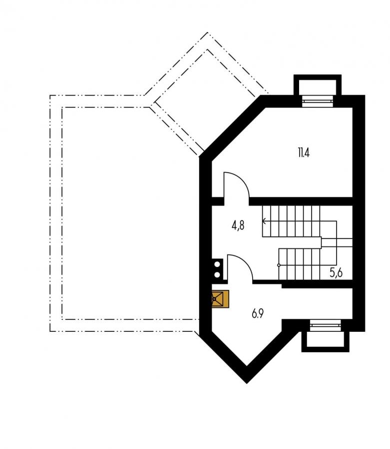 Pôdorys Suterénu - Atypický dom so suterénom a priestrannou obývačkou.