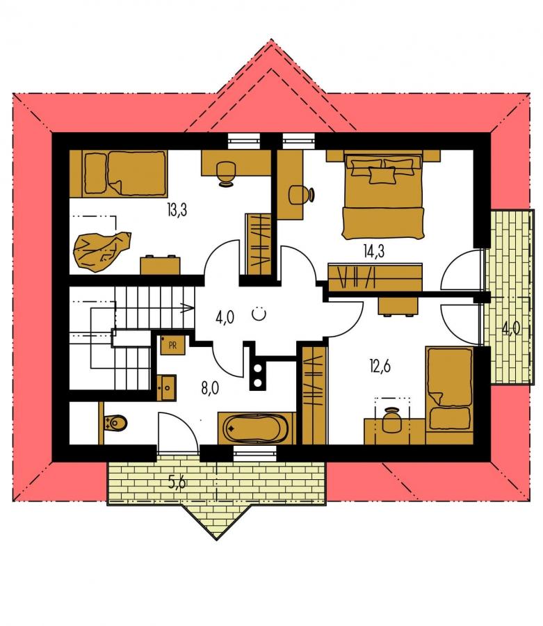 Pôdorys Poschodia - Atypický dom so suterénom a priestrannou obývačkou.