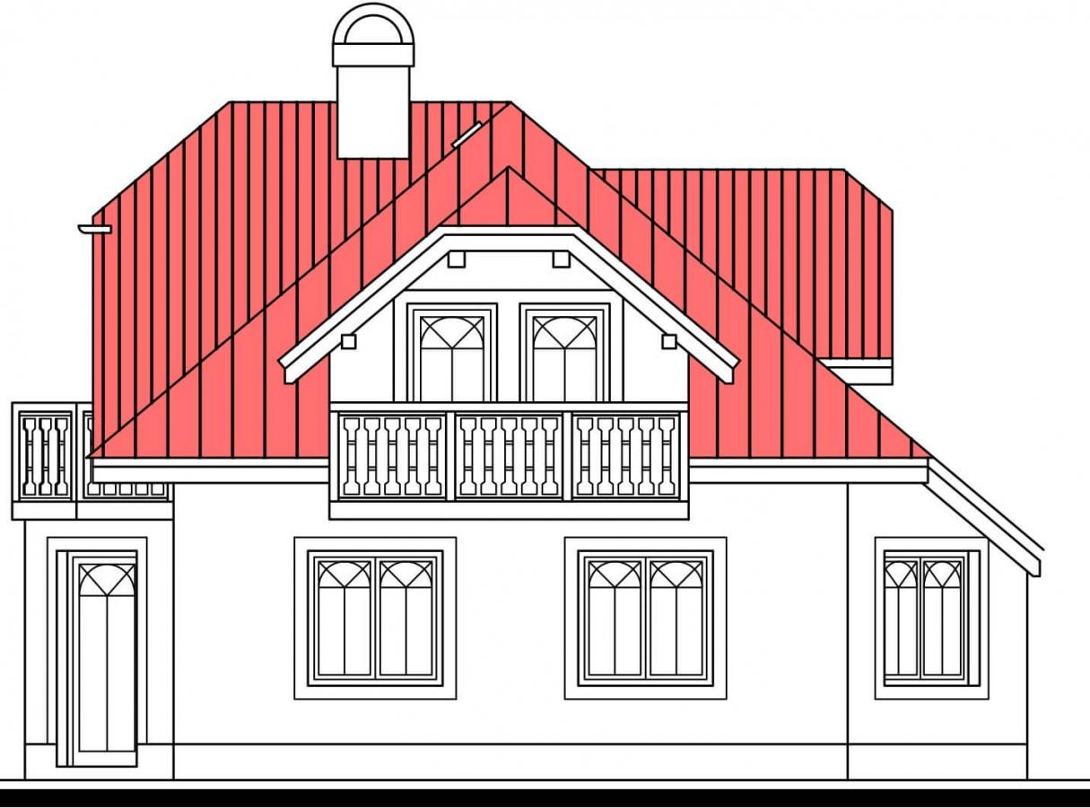 Pohľad 2. - Atypický dom so suterénom a priestrannou obývačkou.