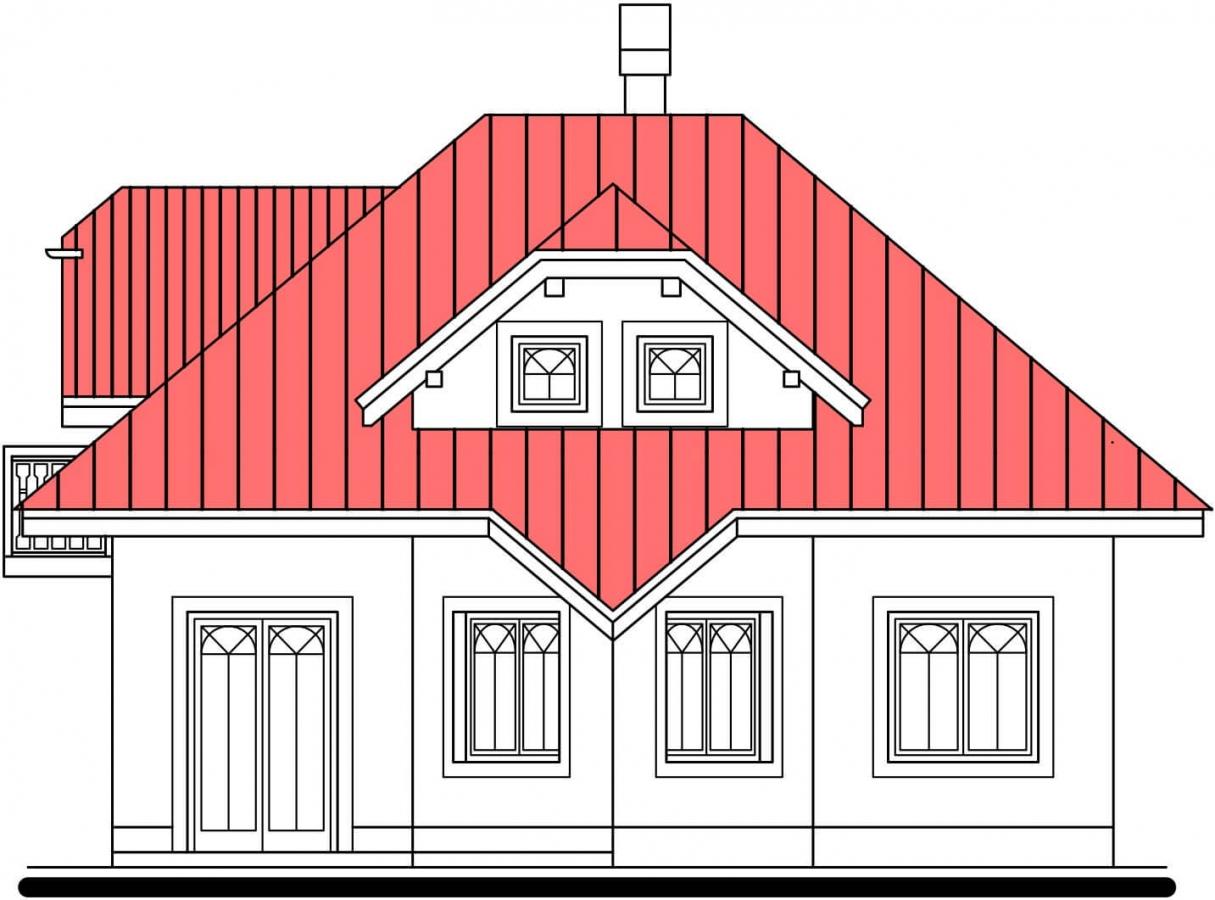 Pohľad 3. - Atypický dom so suterénom a priestrannou obývačkou.