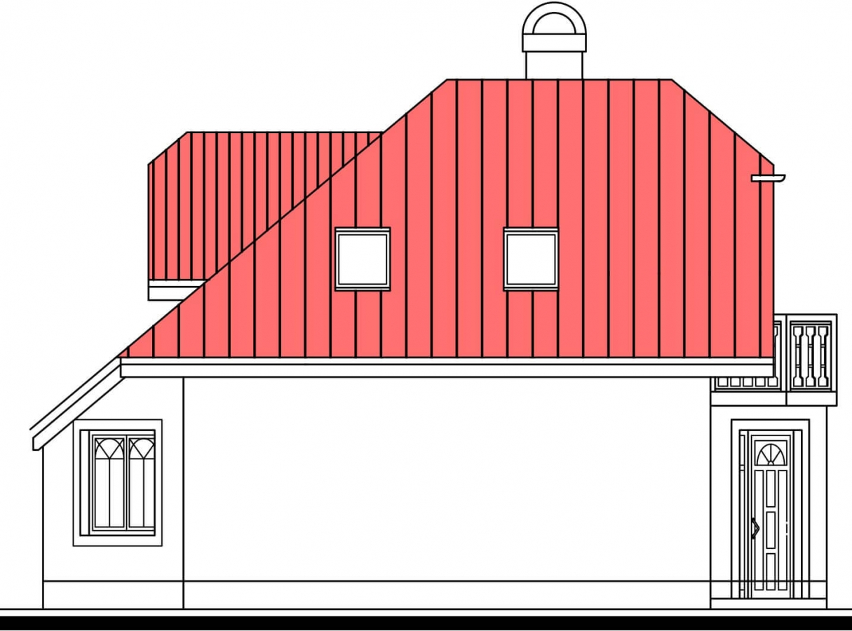 Pohľad 4. - Atypický dom so suterénom a priestrannou obývačkou.