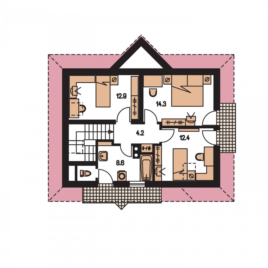 Pôdorys Poschodia - Dom zvláštnych tvarov striech