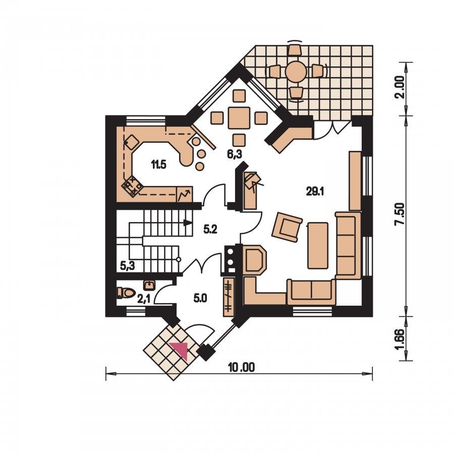 Pôdorys Prízemia - Dom zvláštnych tvarov striech