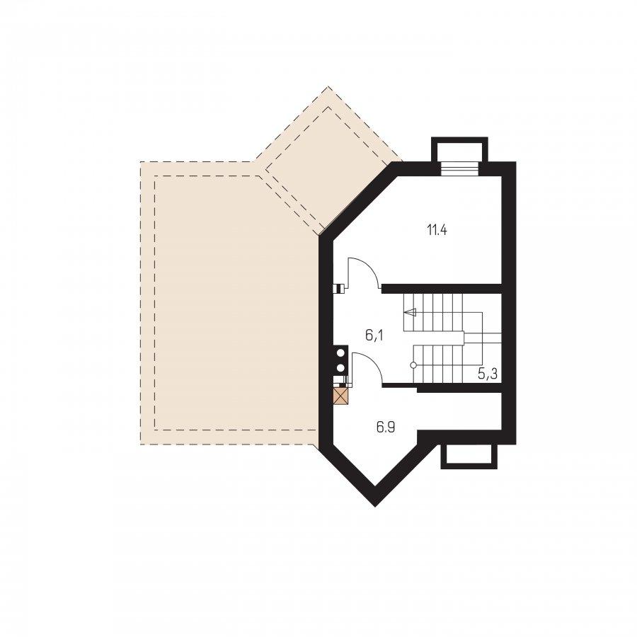 Pôdorys Suterénu - Dom zvláštnych tvarov striech