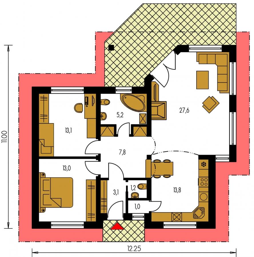 Pôdorys Prízemia - Projekt prízemného rodinného domu s valbovou strechou.