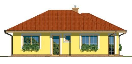 Pohľad 1. - Projekt prízemného rodinného domu s valbovou strechou.