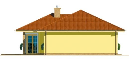 Pohľad 2. - Projekt prízemného rodinného domu s valbovou strechou.
