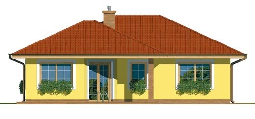 Pohľad 3. - Projekt prízemného rodinného domu s valbovou strechou.