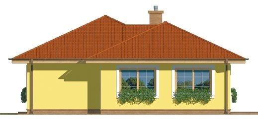 Pohľad 4. - Projekt prízemného rodinného domu s valbovou strechou.