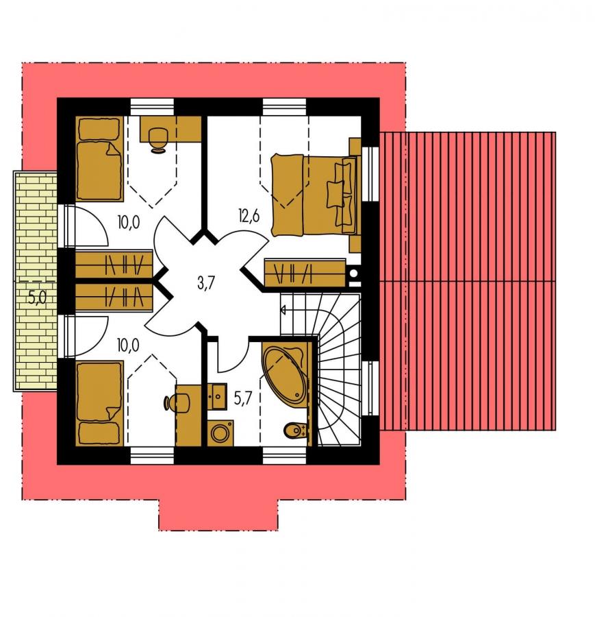 Pôdorys Poschodia - Malý dom s podkrovím a vikiermi