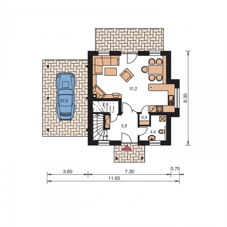 Pôdorys Prízemia - Malý dom s podkrovím a vikiermi