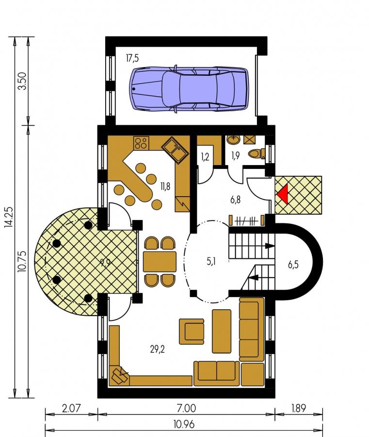 Pôdorys Prízemia - Exkluzívny dom s podkrovím do tichého prostredia