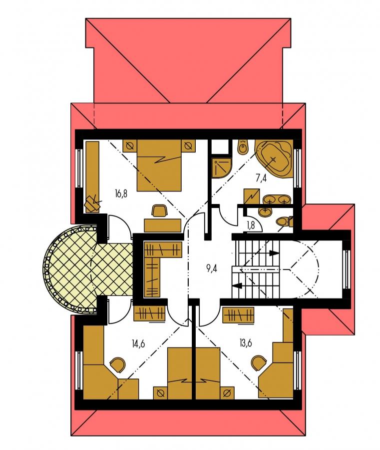 Pôdorys Poschodia - Exkluzívny dom s podkrovím a garážou.