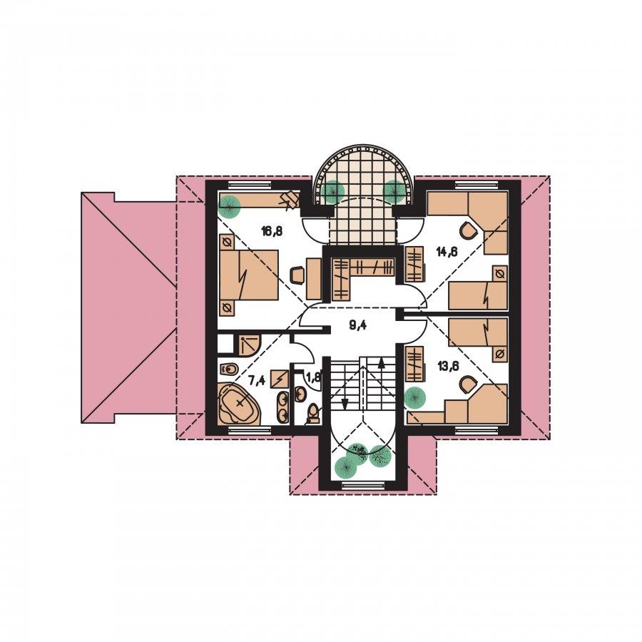 Pôdorys Poschodia - Exkluzívny dom s podkrovím do tichého prostredia