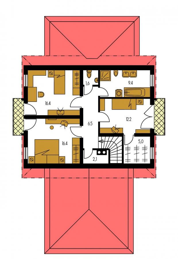 Pôdorys Poschodia - Priestranný dom s garážou a so suterénom.