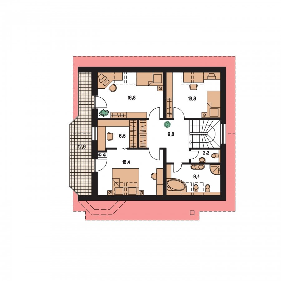 Pôdorys Poschodia - Klasický dom s obytným podkrovím a apsidou
