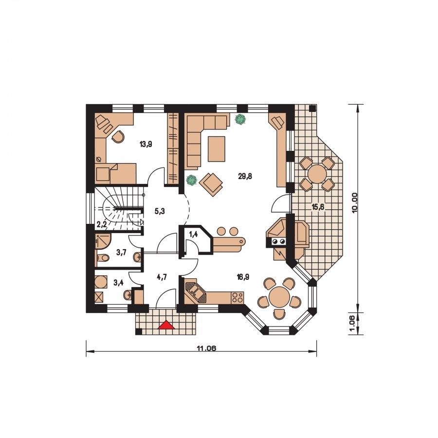Pôdorys Prízemia - Klasický dom s obytným podkrovím a apsidou