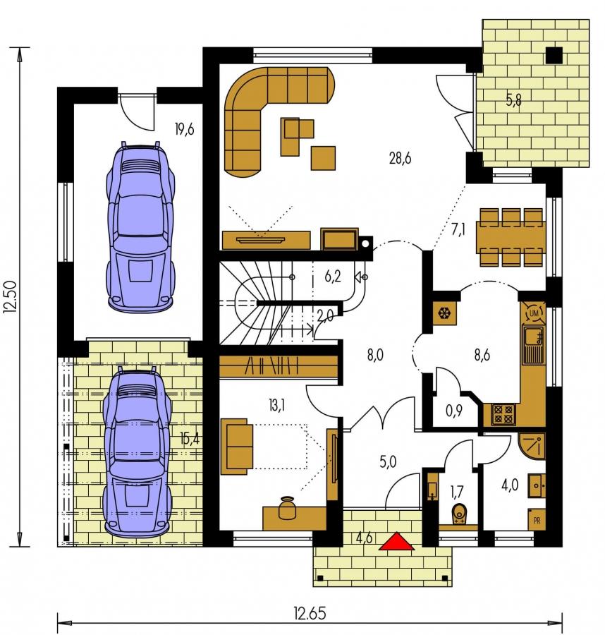 Pôdorys Prízemia - Dom s garážou vhodný ako dvojdom