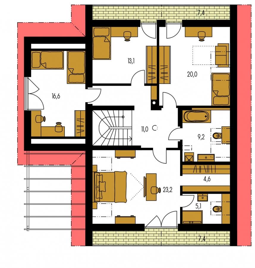 Pôdorys Poschodia - Dom s garážou vhodný ako dvojdom