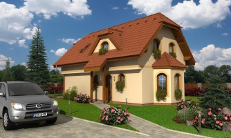 Dom s podkrovím na úzky pozemok.