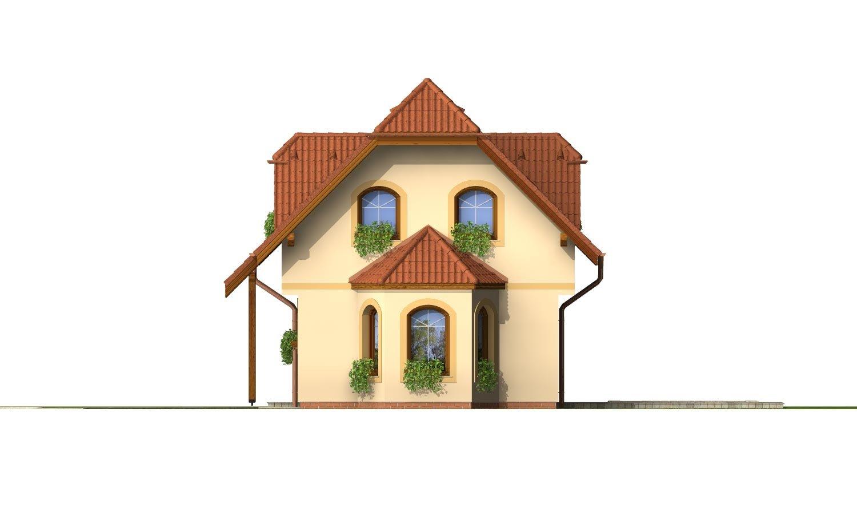Pohľad 1. - Dom s podkrovím na úzky pozemok.