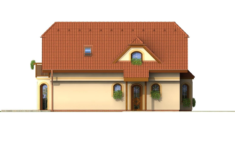 Pohľad 2. - Dom s podkrovím na úzky pozemok.