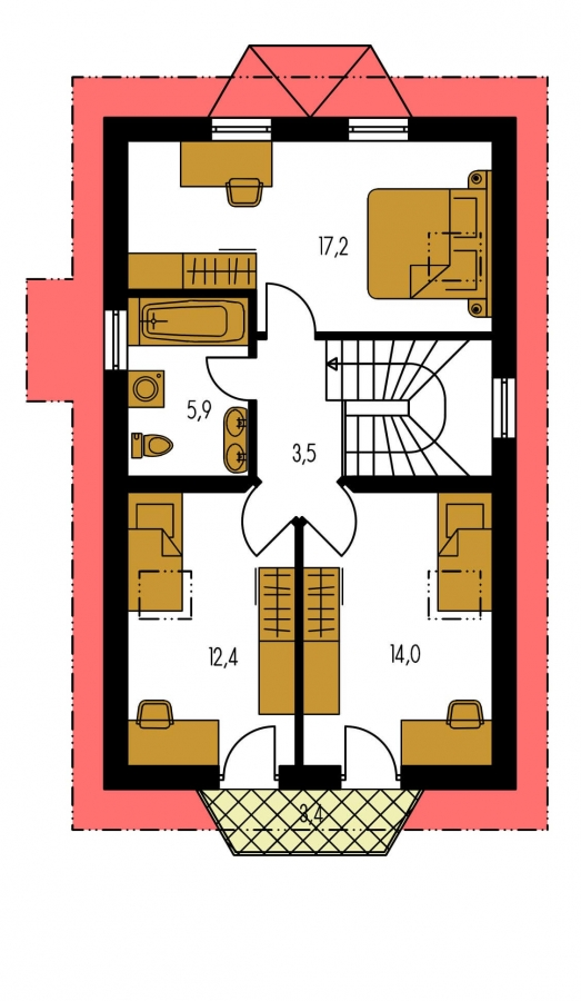 Pôdorys Poschodia - Dom s podkrovím na úzky pozemok.