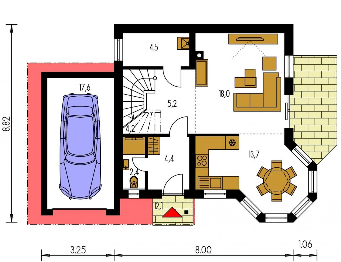 Pôdorys Prízemia - Obľúbený rodinný dom s garážou.