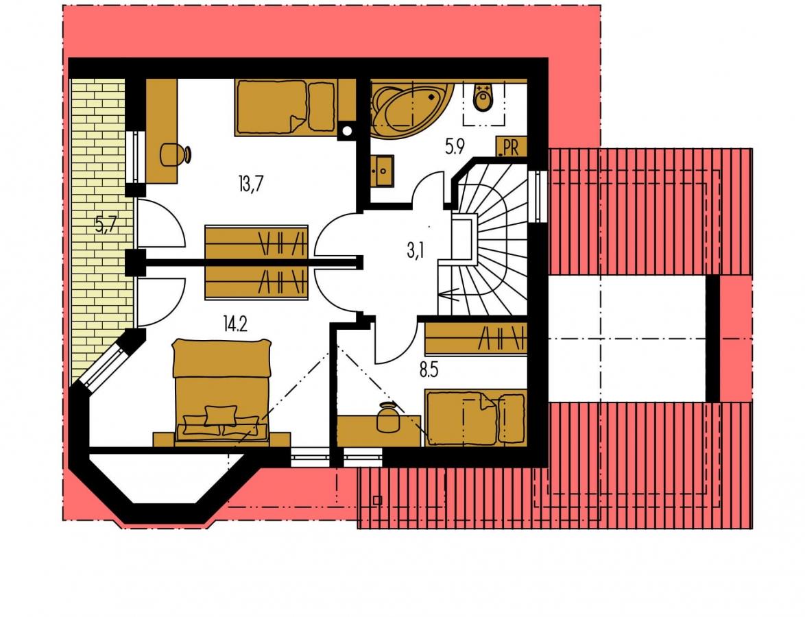 Pôdorys Poschodia - Obľúbený rodinný dom s garážou.