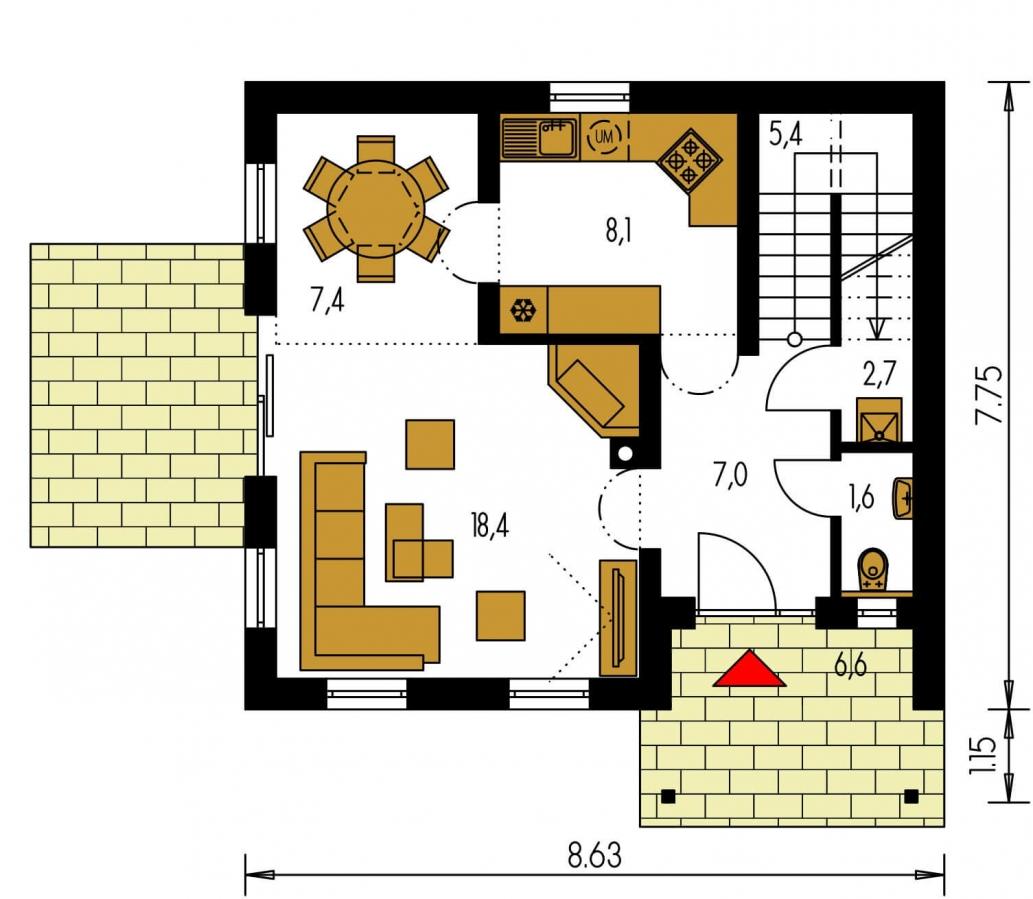 Pôdorys Prízemia - Podkrovný malý dom na úzky pozemok