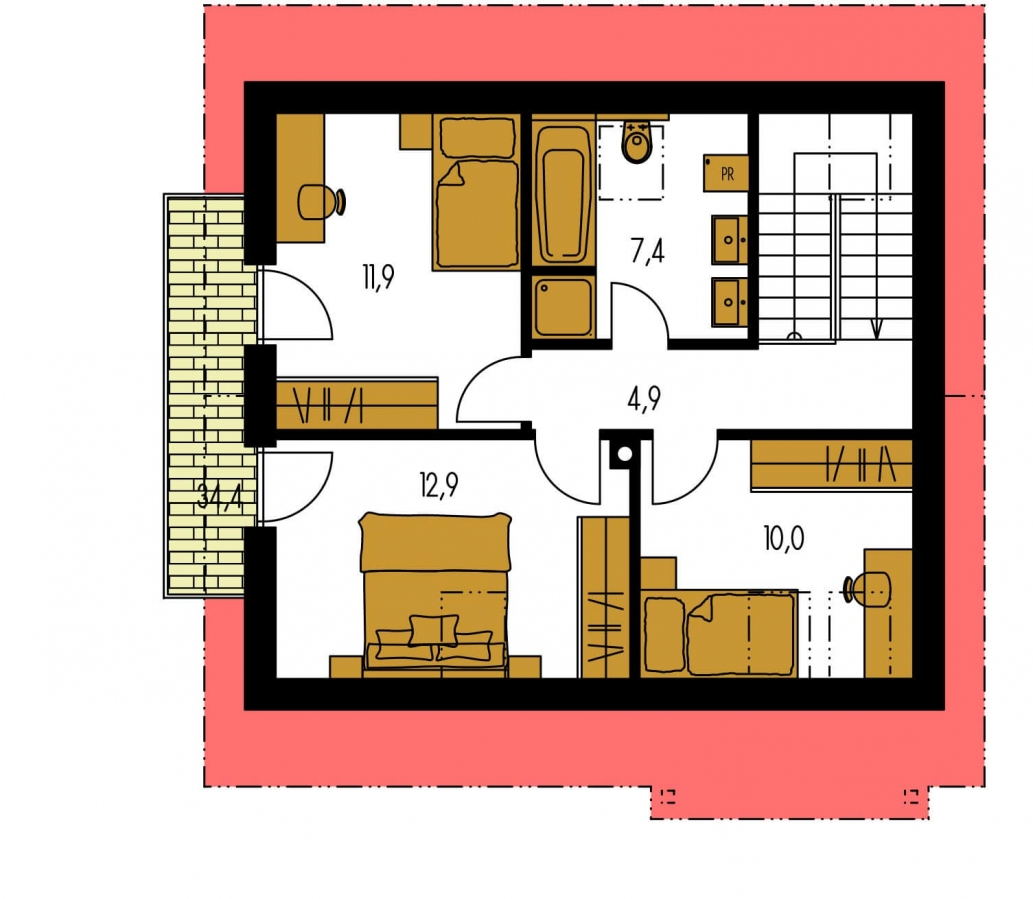 Pôdorys Poschodia - Podkrovný malý dom na úzky pozemok