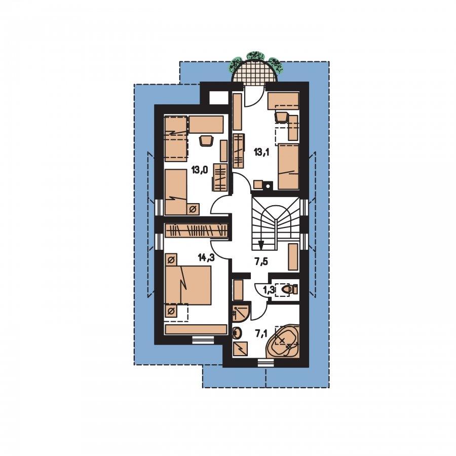 Pôdorys Poschodia - Rodinný dom na úzky pozemok