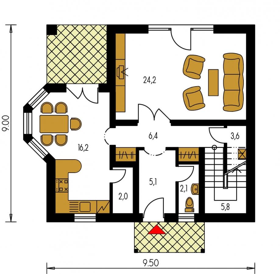 Pôdorys Prízemia - Projekt podkrovného domu s krytou terasou