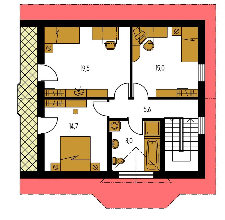 Pôdorys Poschodia - Projekt podkrovného domu s krytou terasou.