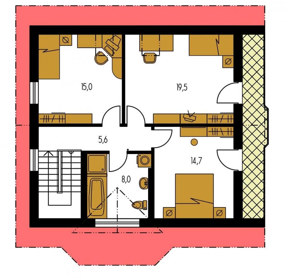 Pôdorys Poschodia - Projekt podkrovného domu s krytou terasou