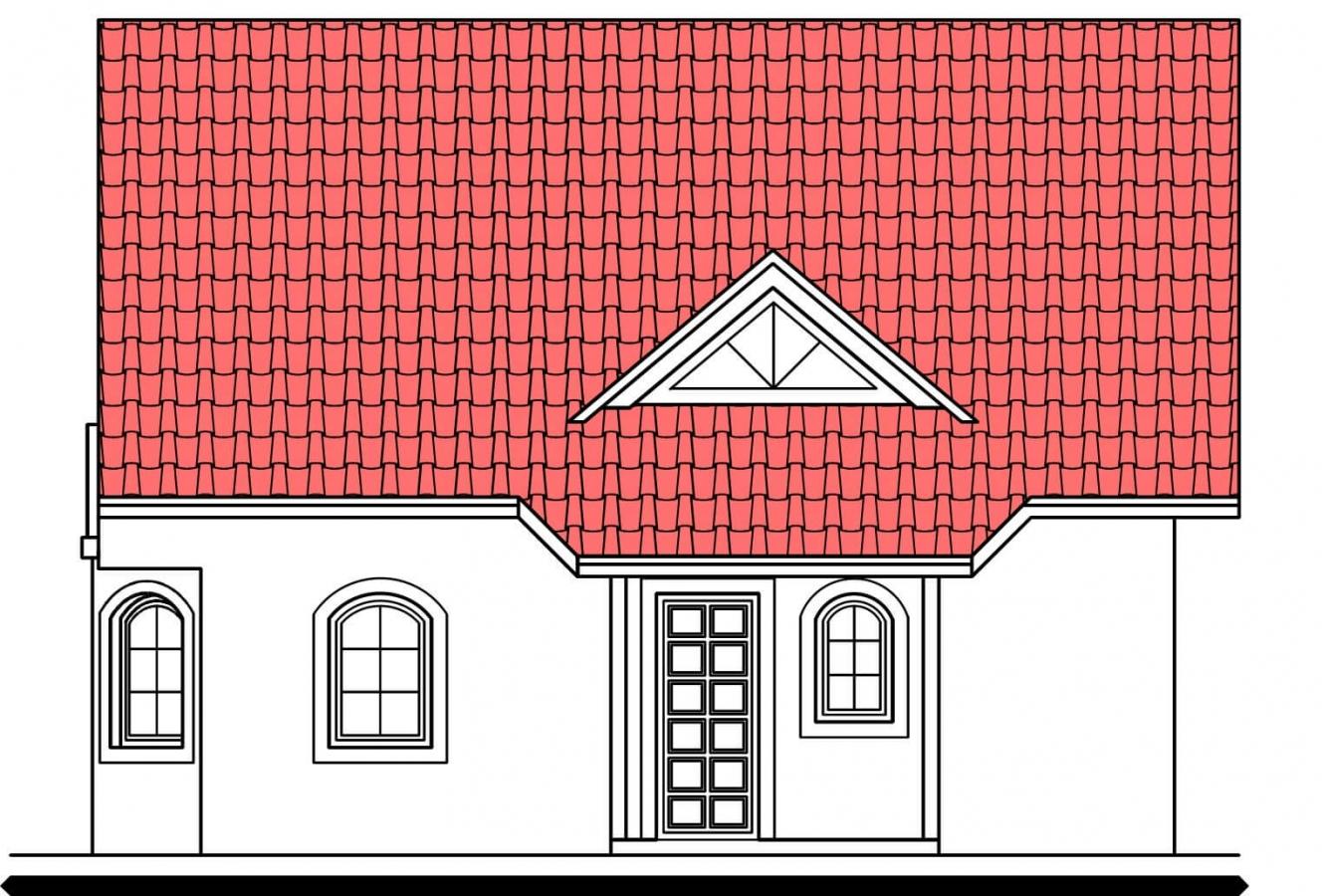 Pohľad 1. - Projekt podkrovného domu s krytou terasou.