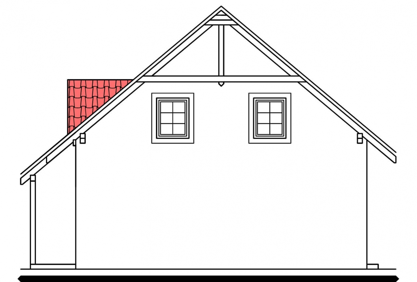 Pohľad 2. - Projekt podkrovného domu s krytou terasou.