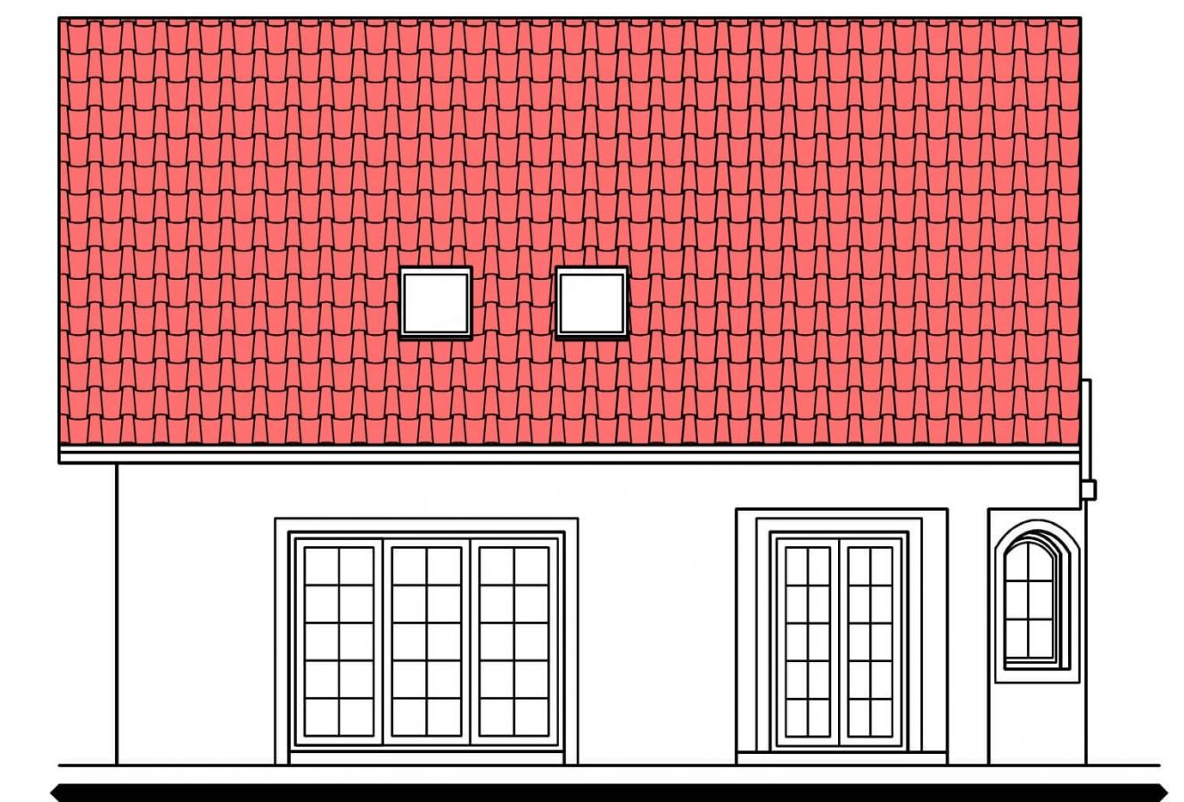 Pohľad 3. - Projekt podkrovného domu s krytou terasou.