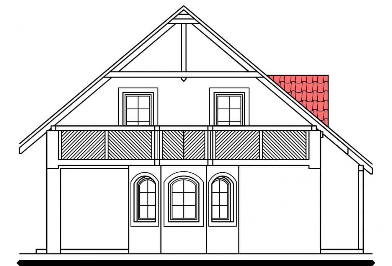Pohľad 4. - Projekt podkrovného domu s krytou terasou.
