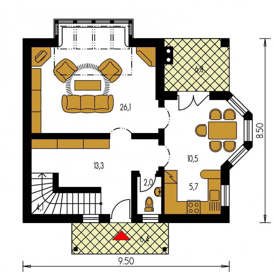 Pôdorys Prízemia - Klasický projekt domu so suterénom, presvetlenou obývacou časťou