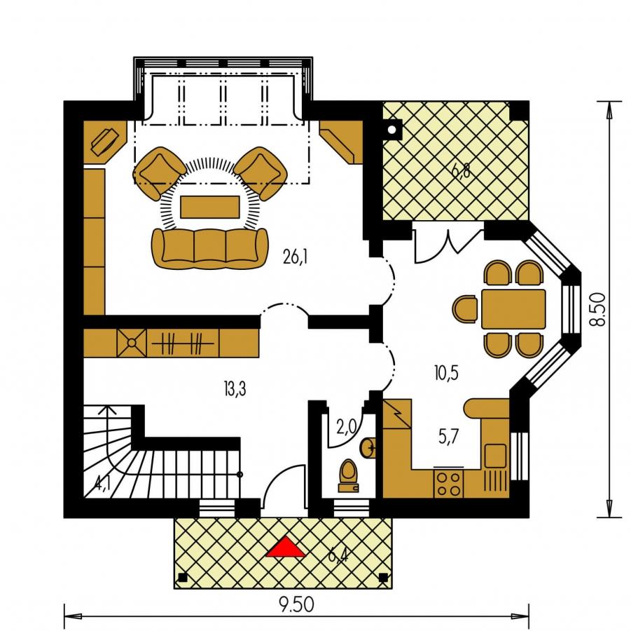 Pôdorys Prízemia - Klasický projekt domu s presvetlenou obývacou časťou.