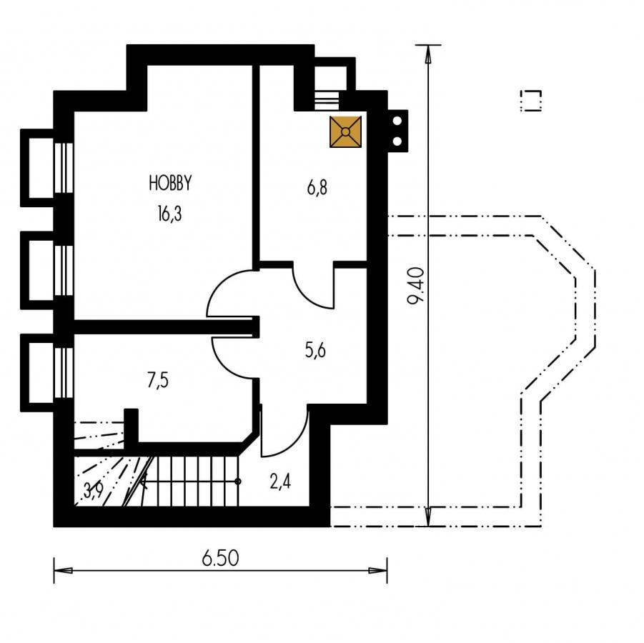 Pôdorys Suterénu - Klasický projekt domu so suterénom, presvetlenou obývacou časťou