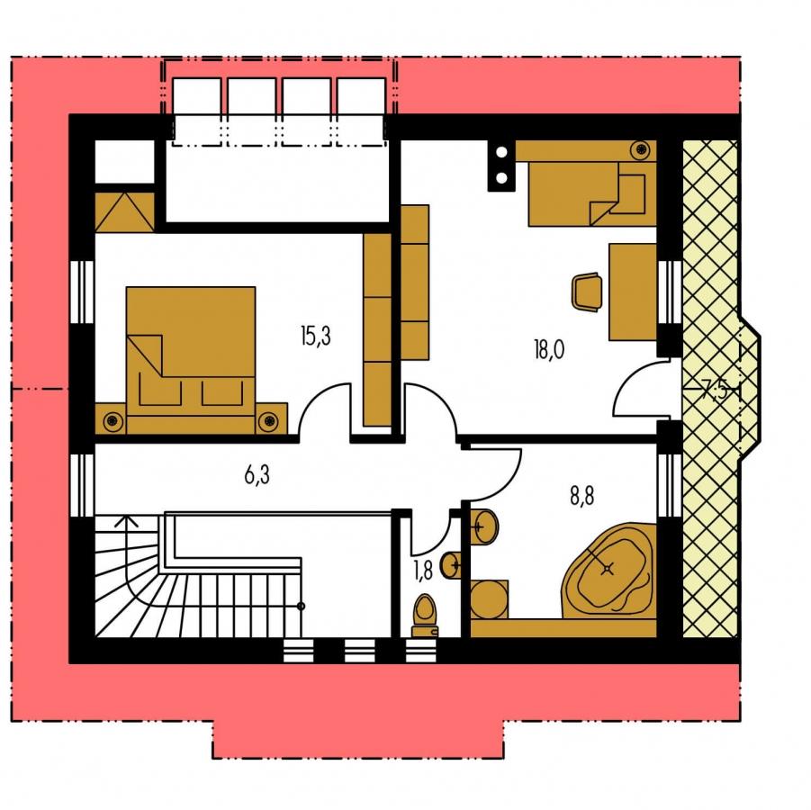 Pôdorys Poschodia - Klasický projekt domu so suterénom, presvetlenou obývacou časťou