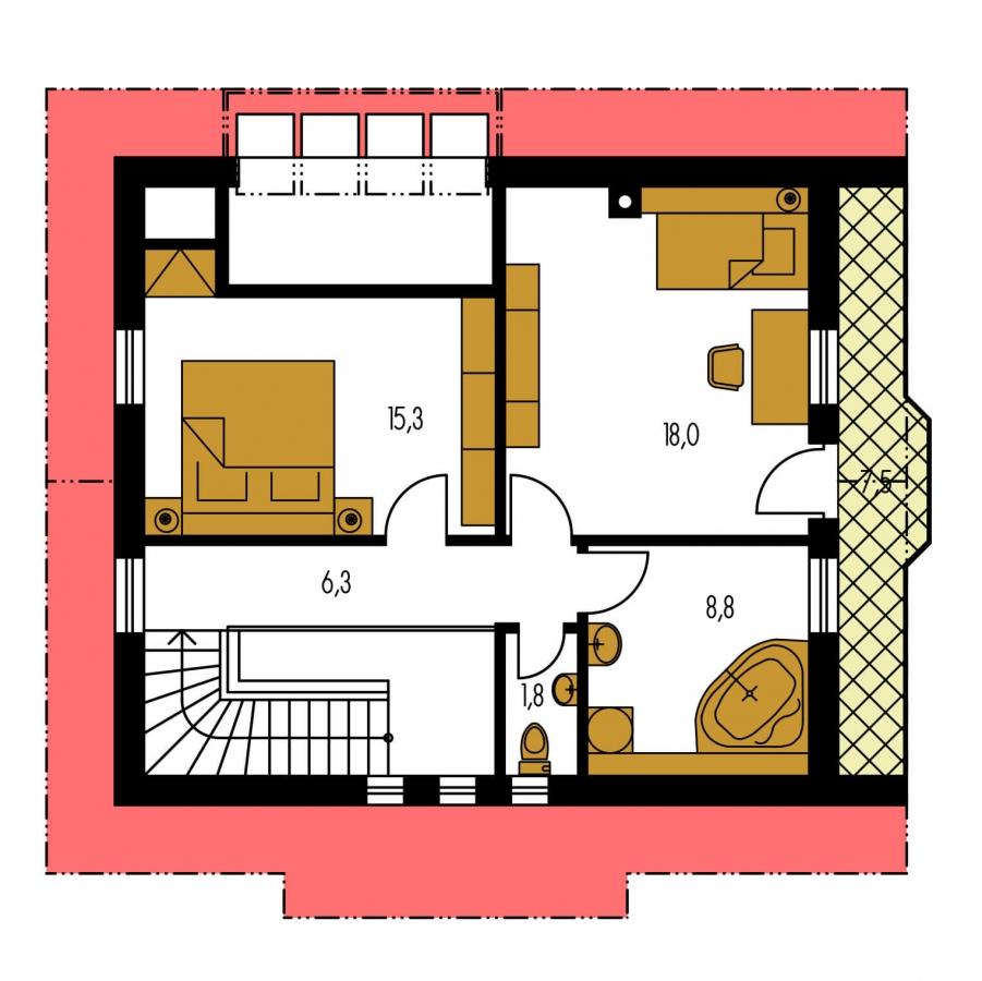 Pôdorys Poschodia - Klasický projekt domu s presvetlenou obývacou časťou.