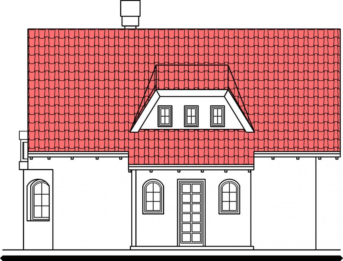 Pohľad 1. - Klasický projekt domu s presvetlenou obývacou časťou.